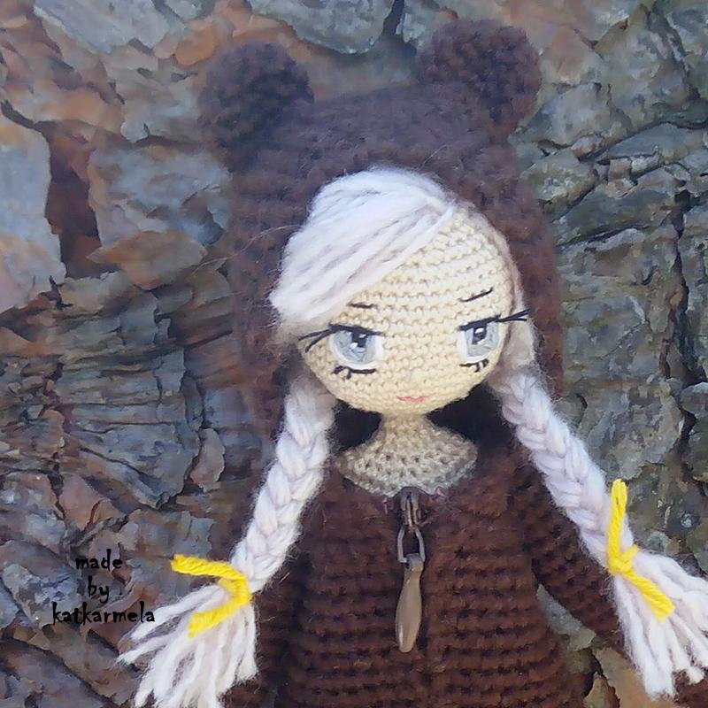 как вышить глаза вязаной кукле куколка сонечка Katkarmela о вязании