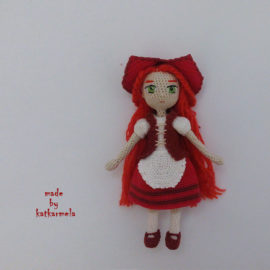 Free knitting pattern of Little Red Riding Hood doll
