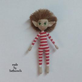 Amigurumi crochet doll elf of Santa Claus: pattern body