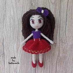 Knitted crochet doll Tina: free pattern