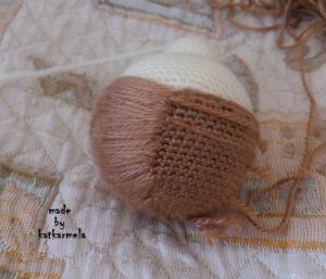 как сделать волосы вязаной кукле
