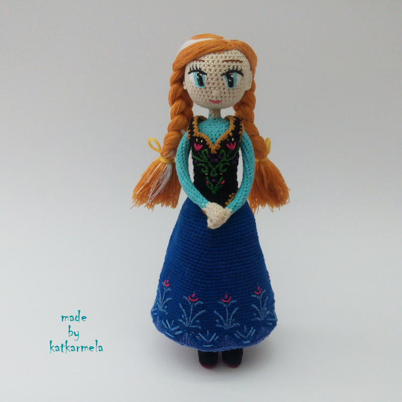 Knitted doll Anna Frozen