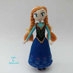How to crochet doll Anna Frozen (clothes): Free Pattern by Katkarmela