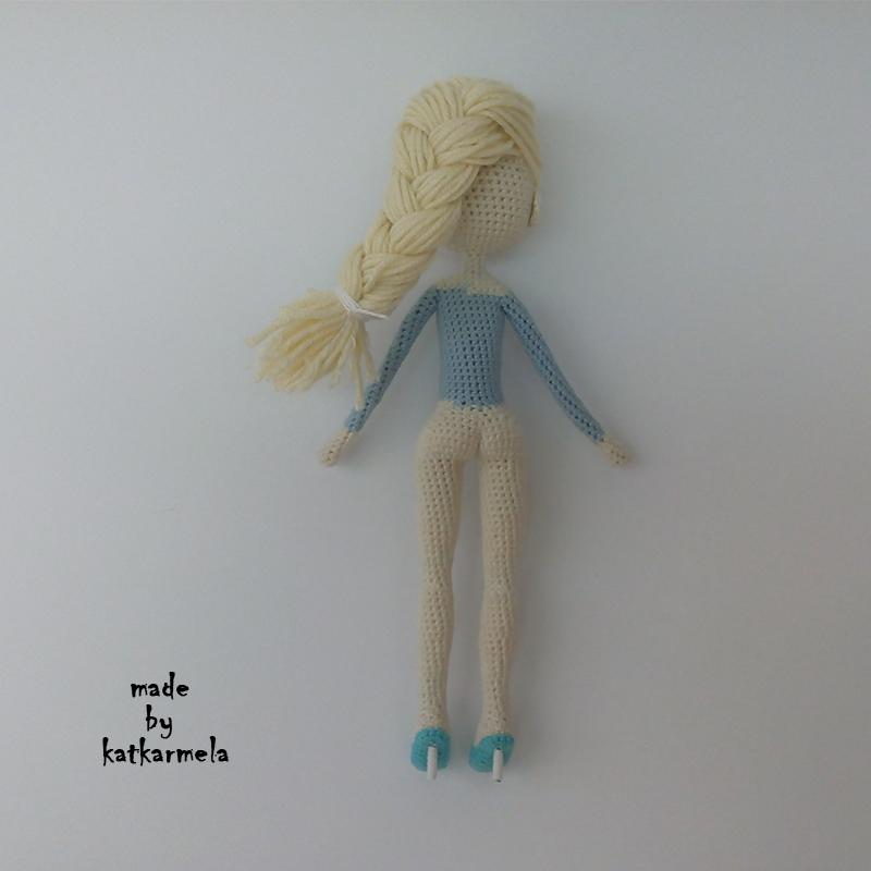 вязание крючком куклы Эльзы