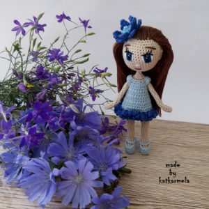 вязание каркасной куклы Василек