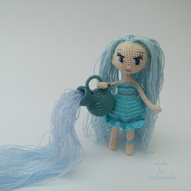 вязаная кукла крючком Водолей