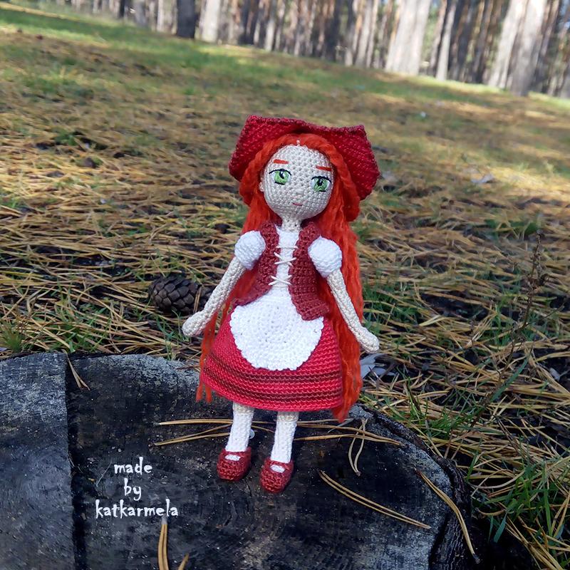 Free Knitting Pattern Of Little Red Riding Hood Doll Katkarmela
