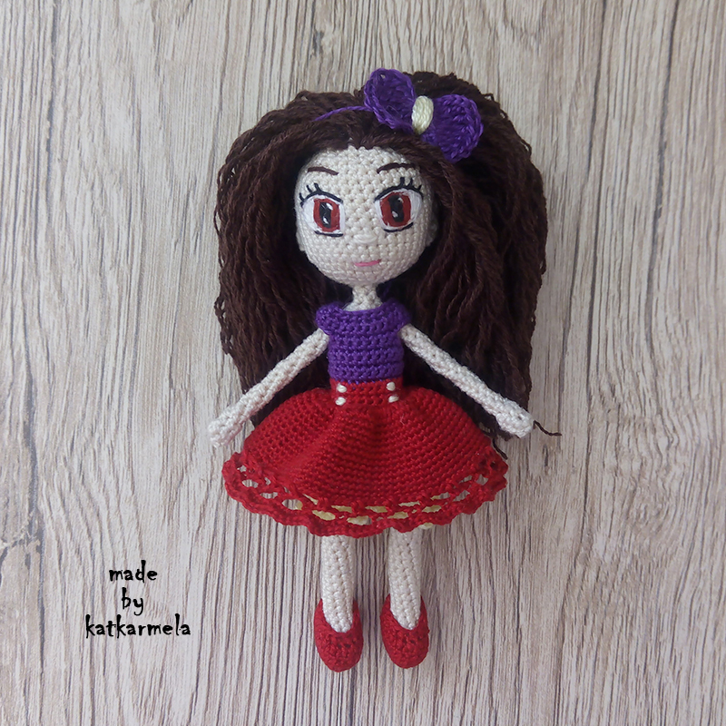 Knitted crochet doll Tina