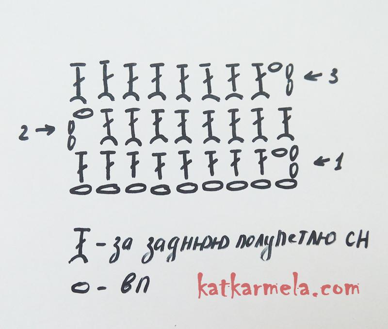 схема узор резинка