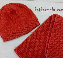 Схема вязания шапки спицами лицевой гладью