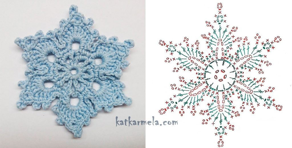 схема красивой снежинки крючком