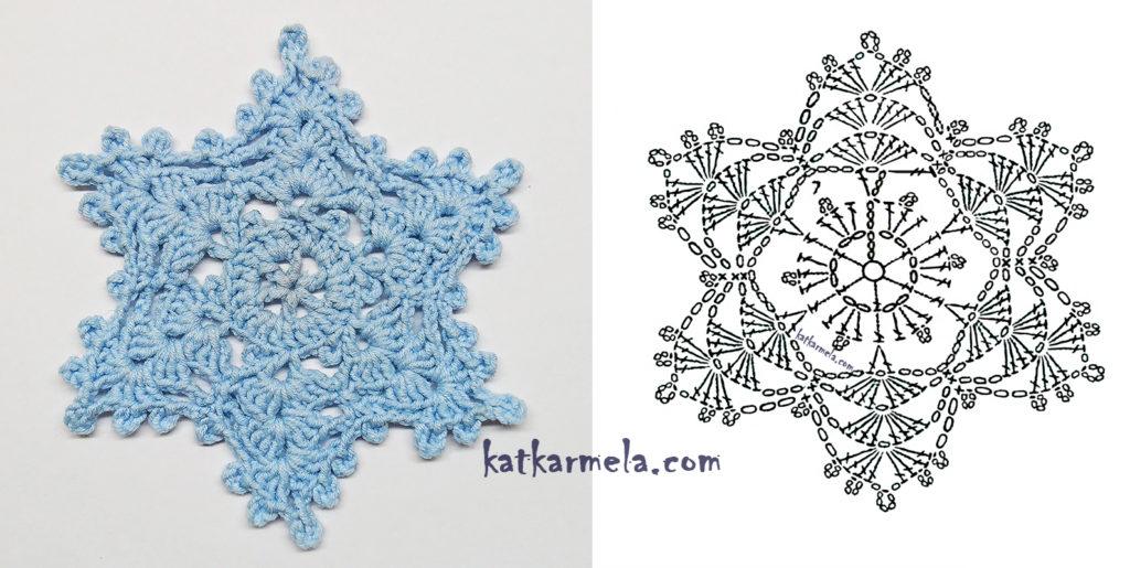 Схема вязаной снежинки крючком